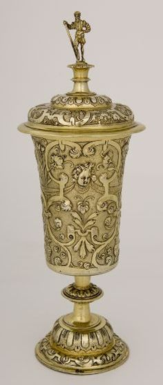 """Standing Beaker with Cover (surmounted by a figure of a """"Landsknecht""""), c. 1590Vessel"""