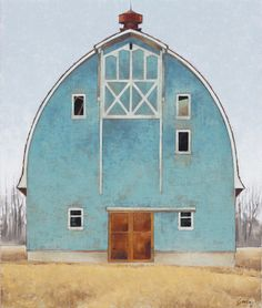 Jared Sanders, Blue and Gold, oil, 30 x - Southwest Art Magazine Country Barns, Old Barns, Watercolor Barns, Barn Pictures, Barn Art, Barns Sheds, Farm Barn, Old Farm Houses, Barn Quilts