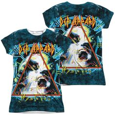 DEF LEPPARD/HYSTERIA (FRONT/BACK PRINT)-S/S JUNIOR POLY CREW-WHITE