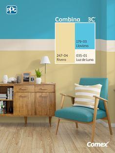 Logra el balance perfecto de color en tu proyecto seleccionando 3 tonos distintos, 60% color predominante, 30% color intermedio y 10% color de acento. ¡El Sistema #Combina3C® te ayudará a crear un hogar balanceado y lleno de color! #Combina colores y transforma tu espacio. Color Combinations Home, Wall Color Combination, Wall Painting Decor, Bedroom Wall Colors, Living Room Color Schemes, House Paint Exterior, Blue Rooms, Home Room Design, Living Room Paint