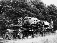 The fuselage of a Heinkel He 111 bomber, being transported by road to a scrap yard, October 1940.