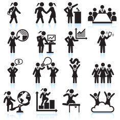 Global Businesswoman Team Presentation black and white vector icon set vector art illustration