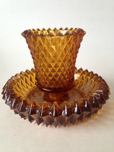 Diamond Cut Amber Glass Candle Holder by Flora Living Boutique