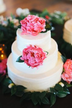 Wedding Cake with Peonies for that pop of pink! See this wedding from @Basheera Khan, PLEASE and @Max Strandlund wanger on SMP:   http://www.StyleMePretty.com/2013/10/29/malibu-wedding-from-max-wanger-bash-please/