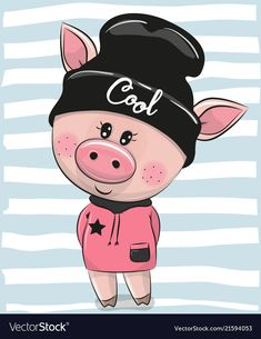 Cartoon Pig in a black hat. Cute Cartoon Pig in a black hat vector illustration Cartoon Cartoon, Cat In Heat, Pig Drawing, Hat Vector, Pig Art, Cute Piggies, Cat Urine, Owning A Cat, Funny Animals