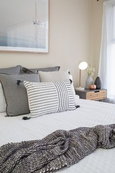 Guest bedroom, master bedroom, queen bed, white bedding, sheer curtains, neutral colour palette, soft colours