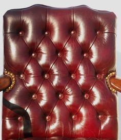Pair Large George II CRVD Walnut Oxblood Leather Chesterfield Lounge Chairs | eBay