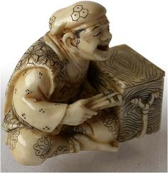 Antique Japanese Carved Netsuke of Happy Man Signed Shofo