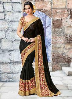 Glided Black Fancy Chiffon Designer Saree