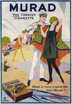 1918 Ad Murad Turkish Cigarette Anargyros Tobacco Beach Captain Bathing Beauty #Murad