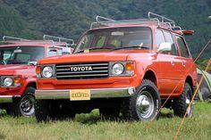ランクル80丸目換装(60フェイス)カスタム オレンジ GOOUTキャンプ ふもとっぱら Toyota LANDCRUISE80 LC60face-custom