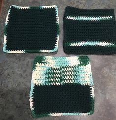 Qty of 3 Handmade Washcloths  / Dishcloths 100% Cotton Forest Green Mixed