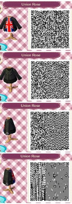Union Jack with leather jacket // Animal Crossing: New Leaf QR Codes Union Jack mit Lederjacke // Animal Crossing: Neue Leaf QR Codes Animal Crossing Qr Codes Clothes, Animal Crossing Pocket Camp, Animal Crossing Game, Post Animal, My Animal, Union Jack, Ac New Leaf, Happy Home Designer, Coding