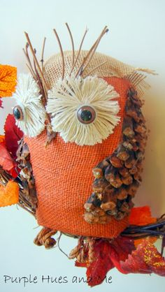 Purple Hues and Me: Recycled Bottle Owl - tutorial how to make your own burlap Fall owl with upcycled materials!