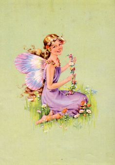 Antique print FAIRY with FLOWERS 1940s vintage illustration nursery decor fairy girl bedroom