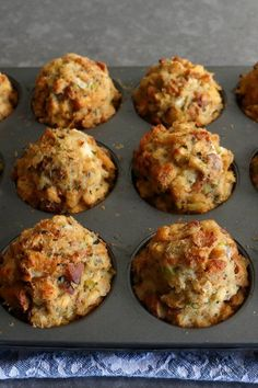 "Gravy-Stuffed Stuffing Muffins | ""Switch things up this Thanksgiving! Instead of serving a basket of dinner rolls, let your family feast on these gravy-stuffed stuffing muffins. Each muffin bakes up with a crispy exterior, a moist interior, and a nugget of thick, sausage-filled country gravy in the center."" #thanksgiving #thankgivingrecipes #thanksgivingsidedishes Thanksgiving Leftover Recipes, Thanksgiving Leftovers, Thanksgiving 2020, Thanksgiving Side Dishes, Stuffing Muffins, Stuffing Recipes, Leftovers Recipes, Holiday Foods, Holiday Treats"