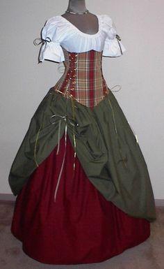 Abito da popolana in tre pezzi: camicia bianca a maniche corte, gonna in rosso con sopragonna metà arricciata verde muschio e corpetto in tartan, la stoffa è povera ma resistente. Costo £25