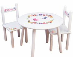 Items similar to Table and Chair Set Childrens Flowers and Pots Tea Party set on Etsy