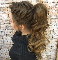 Curly+Ponytail+With+A+Side+Braid