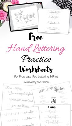 50+ hand lettering practice sheets & worksheets. These FREE hand lettering worksheets are in a PDF and Image format that can be used in Procreate (iPad lettering) or with your favorite brush pens. #handlettering #ipadlettering Bullet Journal Font, Bullet Journal Printables, Journal Template, Bullet Journal Inspiration, Journal Ideas, Hand Lettering Practice, Hand Lettering Tutorial, Printable Letters, Journal Paper