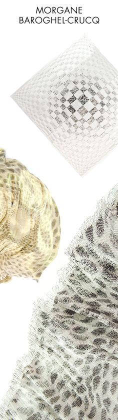"""Morgane Baroghel-Crucq est designer textile, spécialisée en tissage. Ses créations textiles, réalisées à la main explorent les rencontres de matériaux inattendus et de techniques textiles traditionnelles. Considérant le designer textile comme un """"croiseur de fils"""", sa démarche est celle de l'expérimentation. 1/ """"Sunburst"""", pièce unique. Tissage Inox, Coton, Viscose 2/ Io, pièce unique. Tissage satin de Laiton et Soie. 3/ Réflexion, Tissage de Soie et Inox © KlipProduction"""