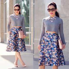 Cropped Top, Necklace, Floral Skirt, Blush Clutch, Heels