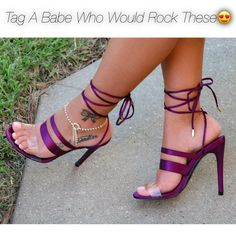 Purple Multi Strap Heels
