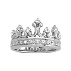 Amazon.com: Sterling Silver Clear Crystal Crown Ring, Size 7: Jewelry