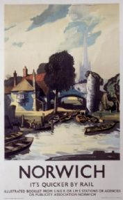 Norwich, Norfolk. Vintage English LNER Travel Poster by Rowland Hilder. 1940