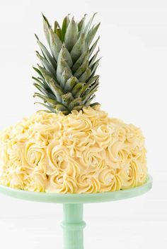 Pineapple Cake - this is the EASY way to make a pineapple cake for a pineapple party! Simply frost a cake with yellow rosette swirls and you have a pineapple cake EASILY! Candy Corn, Mini Cakes, Cupcake Cakes, Cupcake Ideas, 2 Layer Cakes, Birthday Cakes For Women, Birthday Ideas, Mickey Mouse Cake, Grands Parents