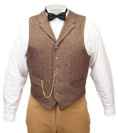 Victorian Mens Brown Wool Tweed Notch Collar Dress Vest   Dickens   Downton Abbey   Edwardian    Walden Wool Tweed Vest - Brown Herringbone