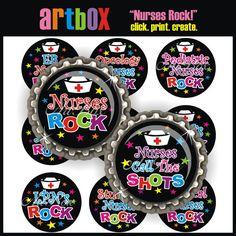 INSTANT DOWNLOAD Nurses Rock Bottle Cap Images - 4X6 Digital Collage Sheet - BottleCap 1 Inch Circles for Pendants, Hair Bows, Magnets on Etsy, $2.50