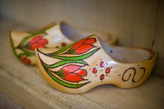 Handmade wooden shoes from Amsterdam....wooden shoes and tulips, 2 of my favorites!