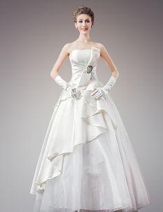 最新のノースリーブ ビスチェ フロアー丈 ボールガウン ウェディングドレス Htb0021