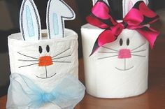 Toilet Paper Easter Bunny 4x4 | Tags | Machine Embroidery Designs | SWAKembroidery.com