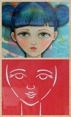 STENCIL Original stencil Sweet Face - use in your mixed media work - reversible & reusable $5