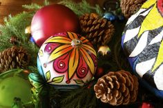 visual blessings: Upcycled Painted Doodle Ornaments