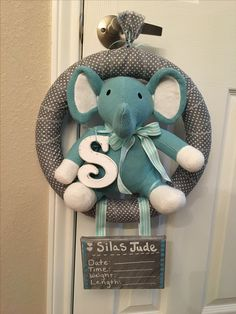Baby Door Hanger. Hospital Door Hanger for a boy! Elephant hospital Door Hanger!