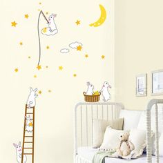 Bunnies Harvesting the Constellation Wall Decal for baby nursery