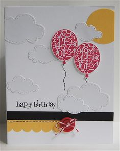 Birthday Balloons in the Clouds Card