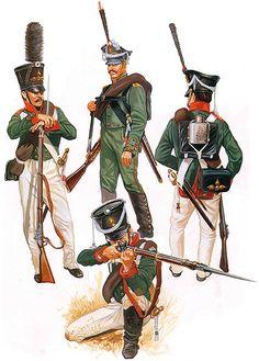 """The Russian Army: • Greanadier, summer dress, 1808 • Carabinier NCO, Jägers, 1812 • Grenadier, 1812 • Musketeer, winter dress, 1809 (down)"", Paul Hannon"