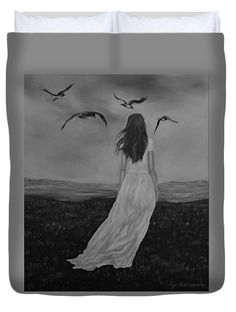 Woman Duvet Cover featuring the drawing Purity by Faye Anastasopoulou Hand Sewing, Duvet Covers, Woman, Drawings, Artist, Prints, Painting, Image, Draw