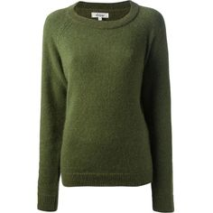 SHINE wool blend glitter sweater ($159) ❤ liked on Polyvore featuring tops, sweaters, shirts, jumpers, long sleeves, raglan sleeve shirts, long sleeve sweaters, green shirt, long-sleeve peplum top and green top
