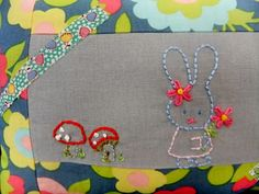 I Love Buttons By Emma: Little pillow.  Love the mix of linen and embroidery with a printed fabric