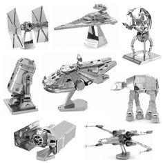 Vollen satz star wars metall puzzle diy montage r2d2 x-wing millennium zu-zu destroyer droid krawatte kämpfer reich destroyer 3d puzzle