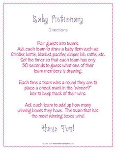 baby shower pictionary baby shower games baby showers mandee s events