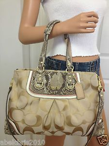 f87017f99b50 Nwt Coach Ashley Khaki Spectator Signature Exotic Carryall Shoulder Fall Bag.  I WANT THIS ONE