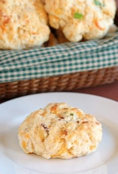 Bacon Cheddar Drop Biscuits Recipe on twopeasandtheirpod.com Easy drop biscuits with cheese and bacon! YUM!
