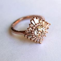Beautiful rose gold diamond deco ring