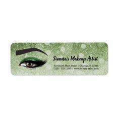 Green glam lashes eyes | makeup artist label - return address labels label diy personalize cyo unique design custom